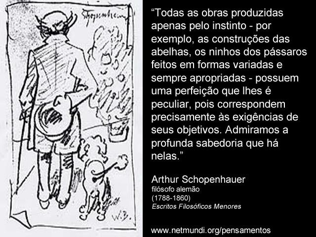 """""""Todas as obras produzidas apenas pelo instinto - por exemplo, as construções das abelhas, os ninhos dos pássaros feitos em formas variadas e sempre apropriadas - possuem uma perfeição que lhes é peculiar, pois correspondem precisamente às exigências de seus objetivos. Admiramos a profunda sabedoria que há nelas."""" Arthur Schopenhauer"""