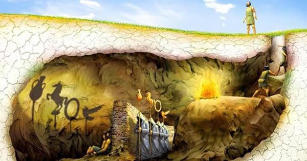 Mo Mito da Caverna é a mais famosa metáfora de Platão, que tenta demonstrar que este mundo é apenas uma sombra do mundo das ideias. Este mundo só pode ser atingido pela razão, que eleva o homem à contemplação da verdadeira realidade.