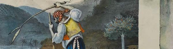 Capataz pune escravo em propriedade rural, de Jean-Baptiste Debret