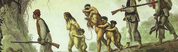 Família Guarani capturada por caçadores de escravos, de Jean-Baptiste Debret
