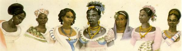Escravas negras de diferentes nações, de Jean-Baptiste Debret