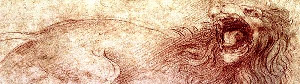 Esboço de leão rugindo - Leonardo da Vinci