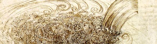 Estudo de água atravessando obstáculo - Leonardo da Vinci