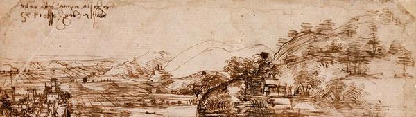 Paisagem de Santa Maria della Neve - Leonardo da Vinci