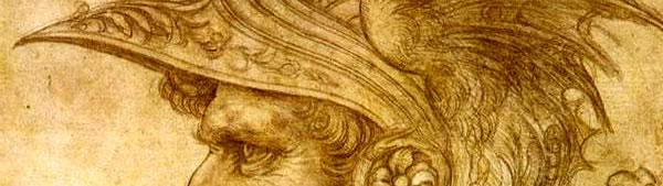Perfil de guerreiro com elmo - Leonardo da Vinci