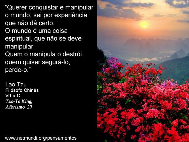 """""""Querer conquistar e manipular o mundo, sei por experiência que não dá certo. O mundo é uma coisa espiritual, que não se deve manipular. Quem o manipula o destrói, quem quiser segurá-lo, perde-o."""" Lao Tzu, Filósofo Chinês, VII a.C, Tao-Te King, Aforismo 29"""