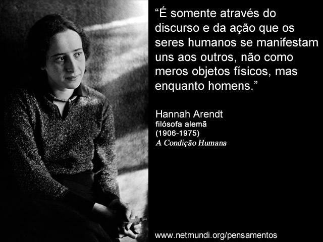 """""""É somente através do discurso e da ação que os seres humanos se manifestam uns aos outros, não como meros objetos físicos, mas enquanto homens."""" Hannah Arendt, Filósofa Alemã"""