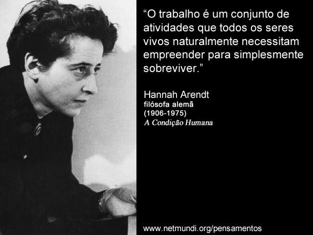 """""""O trabalho é um conjunto de atividades que todos os seres vivos naturalmente necessitam empreender para simplesmente sobreviver."""" Hannah Arendt, Filósofa Alemã"""